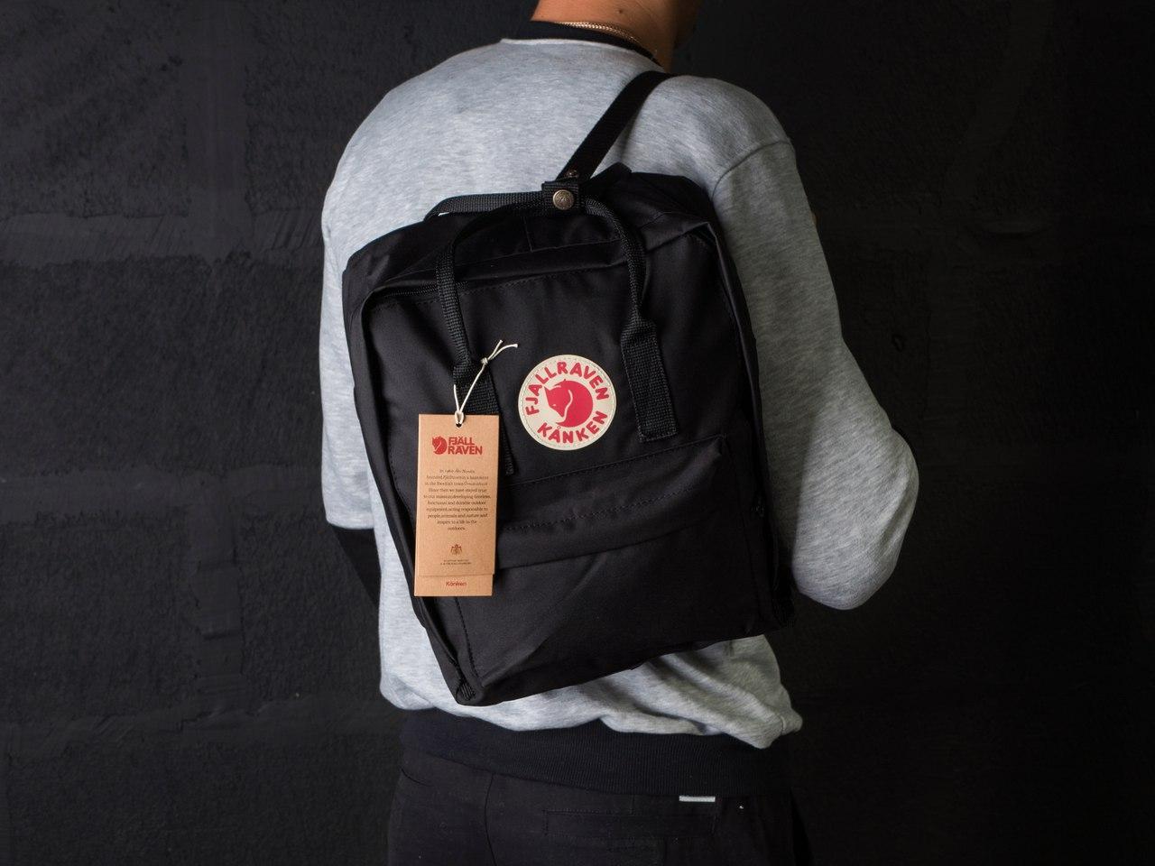 Рюкзак мужской квадратной формы на молнии и кнопках в черном цвете, ТОП-реплика