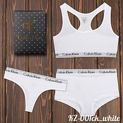 Комплект белья женский: топ, шортики и стринги (Турция) KZ-001ck_white