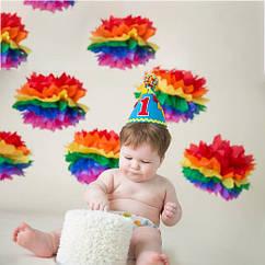 Бумажные помпоны 35 см 7 цветов радуги