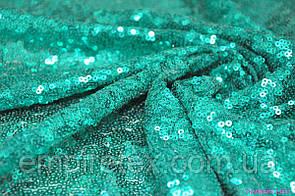 Пайеточная ткань густая Морская волна