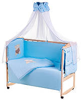 Детская постель Qvatro Ellite AE-08 аппликация  голубой (мишка сидит с коричневым сердцем), фото 1