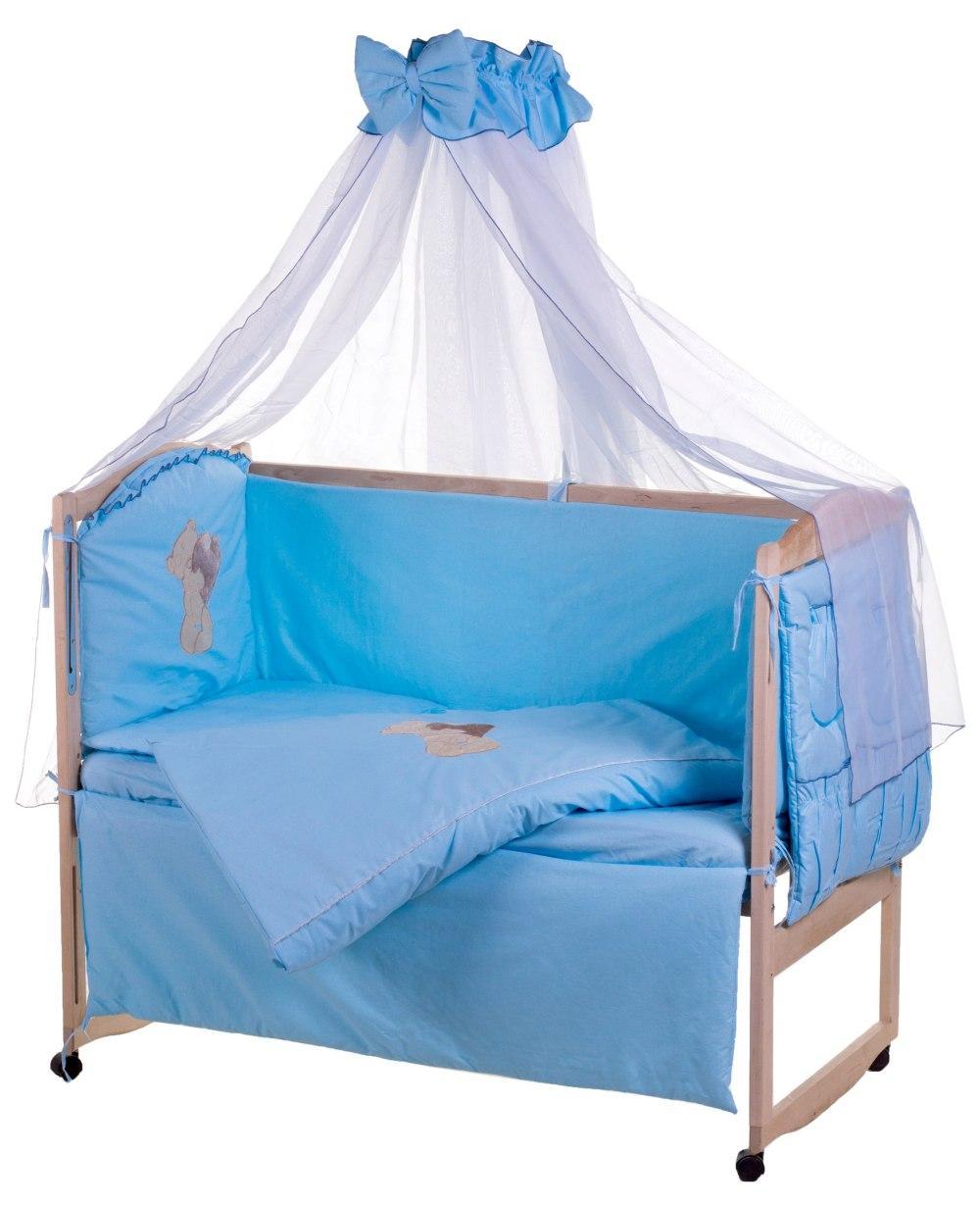 Детская постель Qvatro Ellite AE-08 аппликация  голубой (мишка стоит с сердцем)