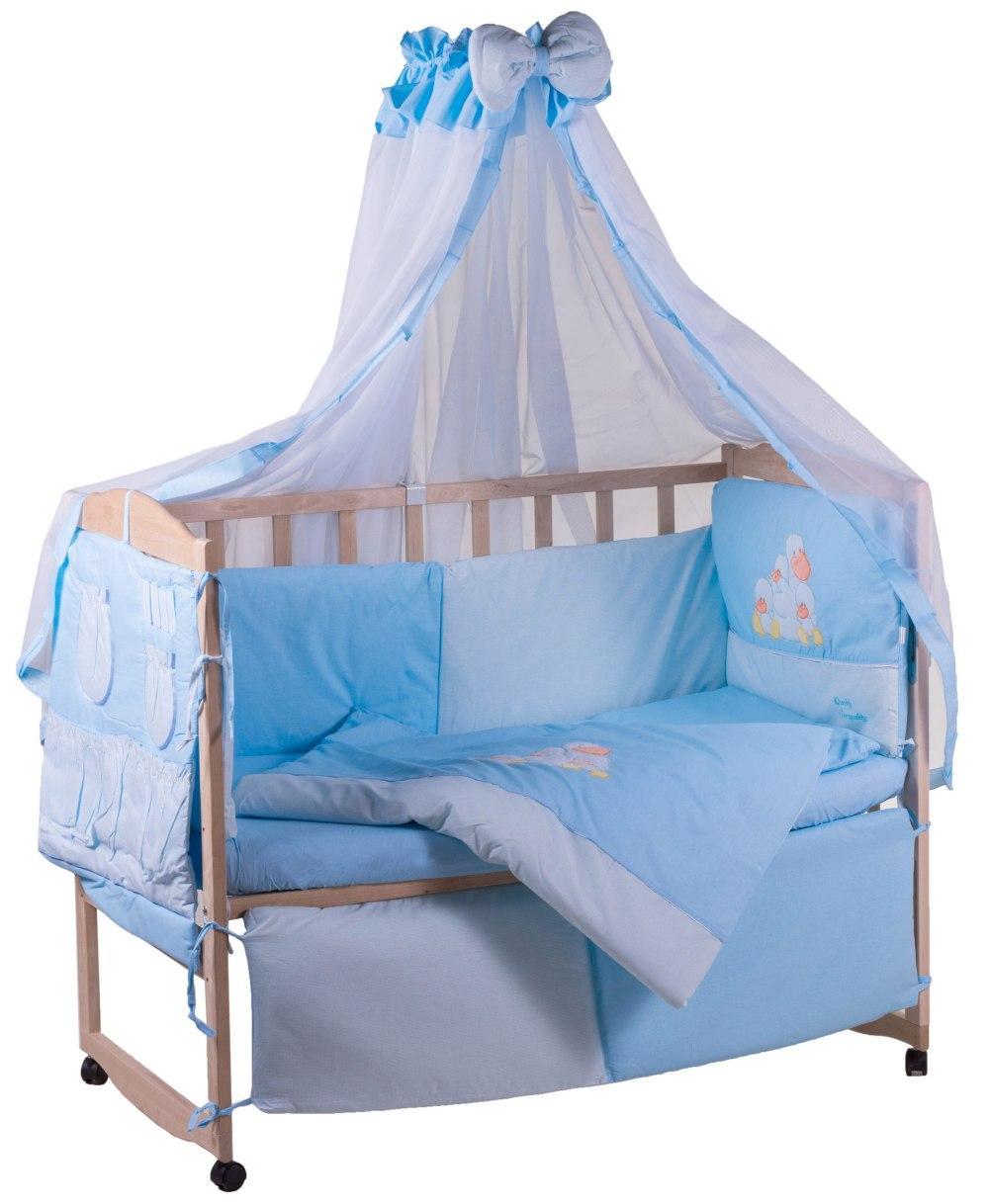 Детская постель Qvatro с аппликацией (8 элем.,со змейками на защите).  голубой (утята)