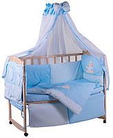 Детская постель Qvatro с аппликацией (8 элем.,со змейками на защите).  голубой (утята), фото 1
