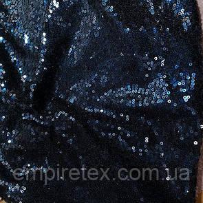Пайеточная ткань густая Синяя