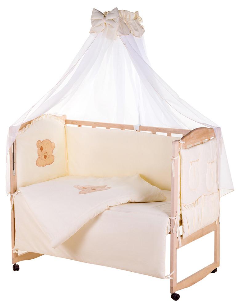 Детская постель Qvatro Gold AG-08 аппликация  бежевый (мишка мордочка штопанная)
