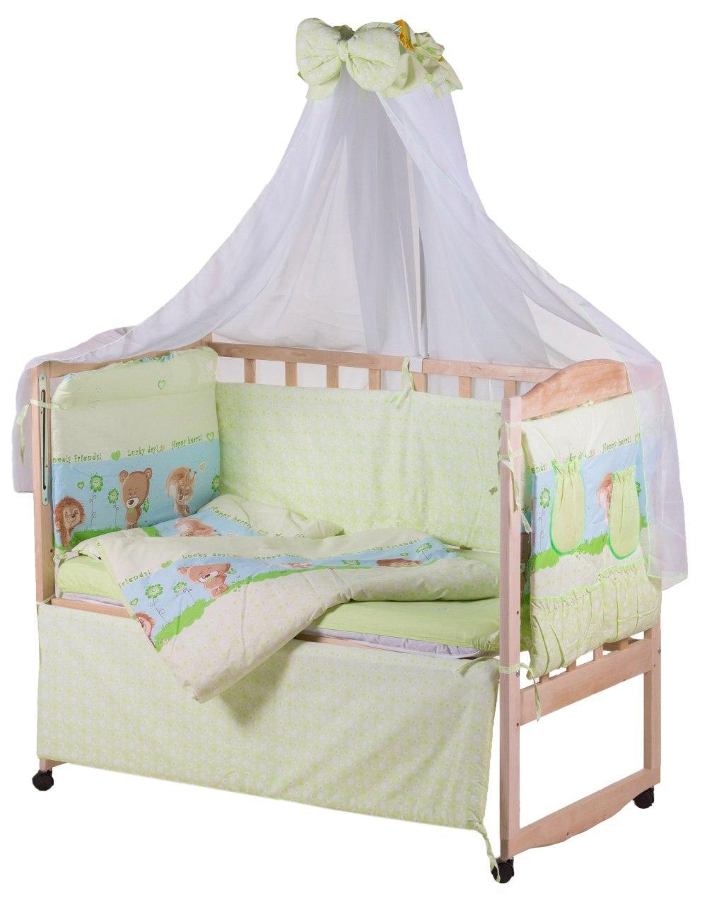Детская постель Qvatro Lux  RL-08  салатовая (ежик с мишкой,белкой)