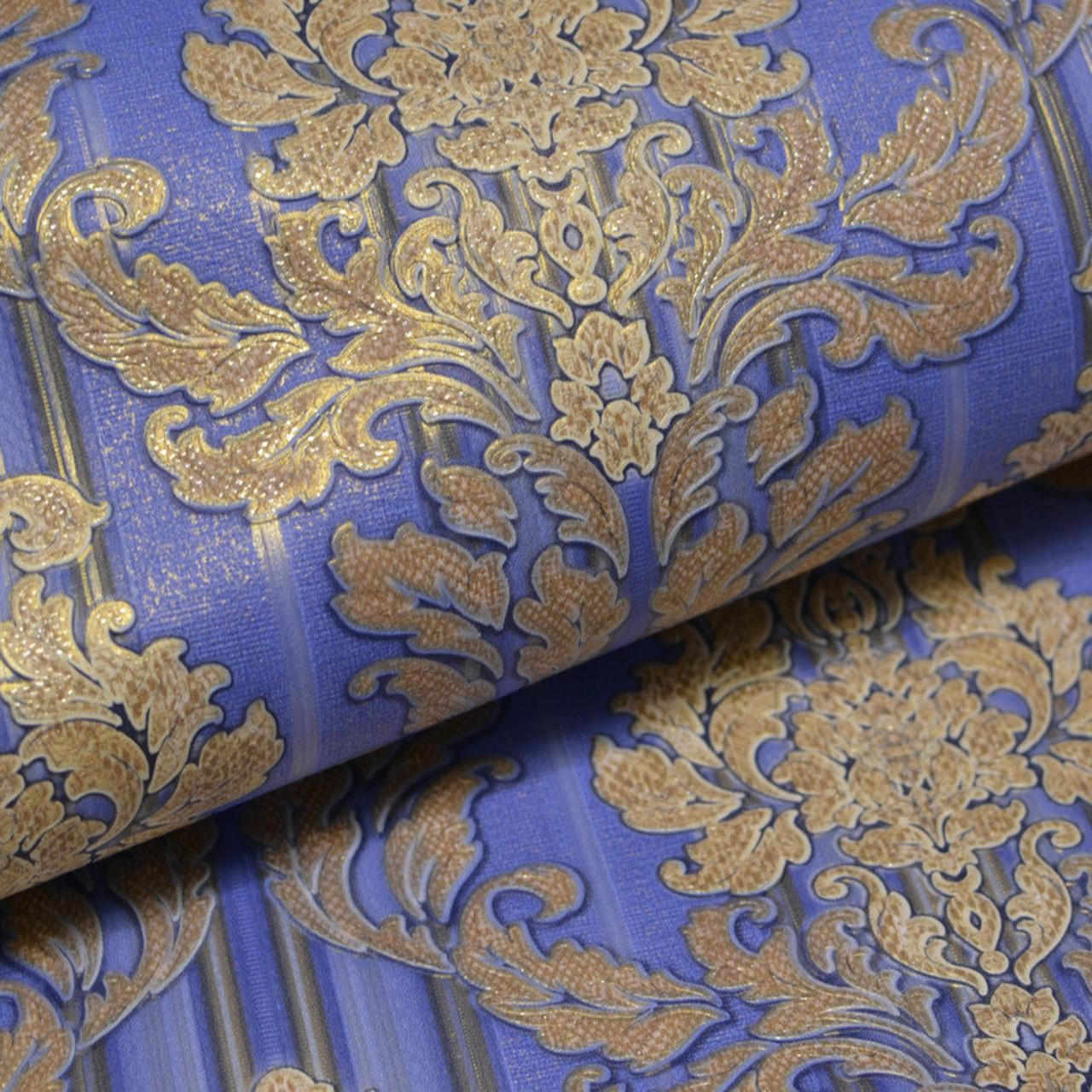 Обои на стену, дуплекс, бумажная основа, дворцовый стиль, золотые, синие, B64,4 Цезарь 8102-03, 0.53*10м