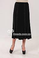 Женская трикотажная юбка Азалия черного цвета, ниже колен