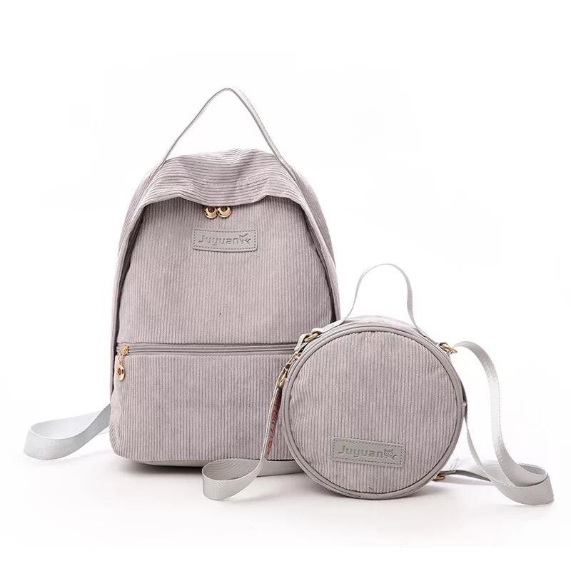 Рюкзак  вельветовый с сумочкой серый Mochila (AV166/2)