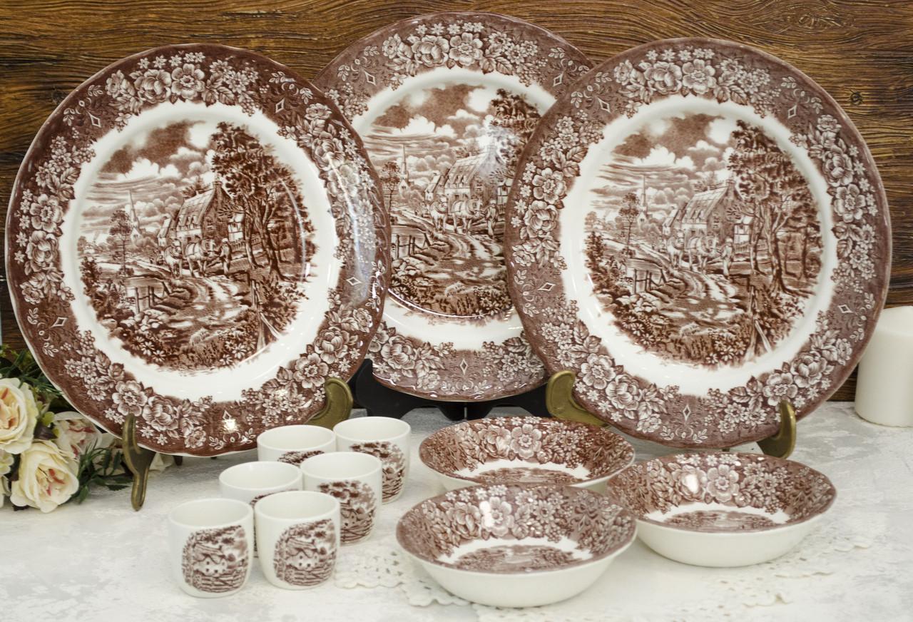 Комплект английской керамики, BRITISH ANCHOR IRONSTONE, Англия, три персоны, Memory Lane