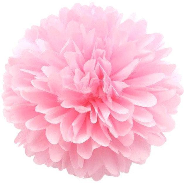 Бумажный помпон для оформления 35 см нежно-розовый