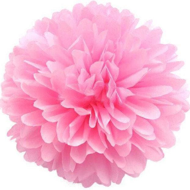 Бумажный помпон для оформления 35 см розовый