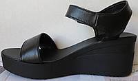 Жіночі шкіряні босоніжки в стилі Kelton! чорні шкіра натуральна на платформі танкетці Келтон репліка