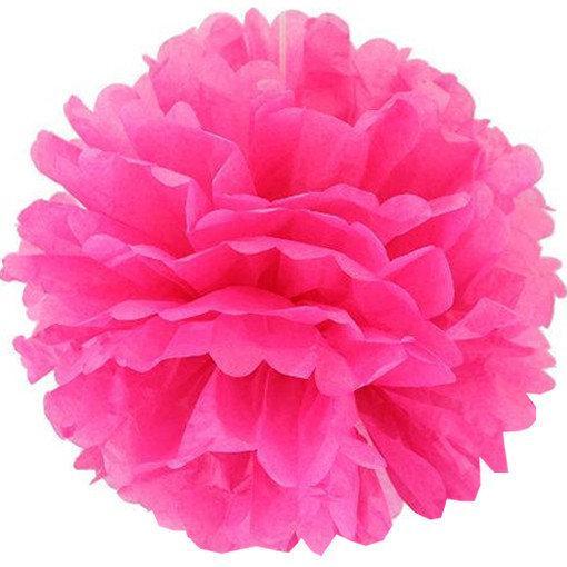 Бумажный помпон для оформления 35 см ярко-розовый
