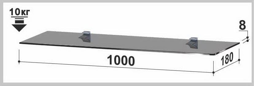 Полка стеклянная Gamma PL14 P (180х1000х8) (прямоугольная прозрачная, графит, бронза)
