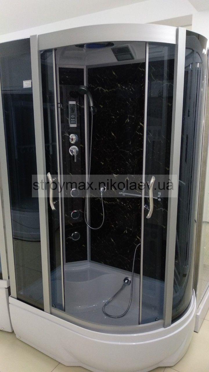Гидробокс SAN 388L BM (80*120*215) BLACK MARMUR поддон 26/40см  сатин/серое