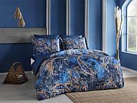 Двуспальное евро постельное белье TAC Marisol Blue Сатин-Digital