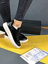 Жіночі Кросівки Alexander MCqueen Black White Leather (Хутро), фото 9