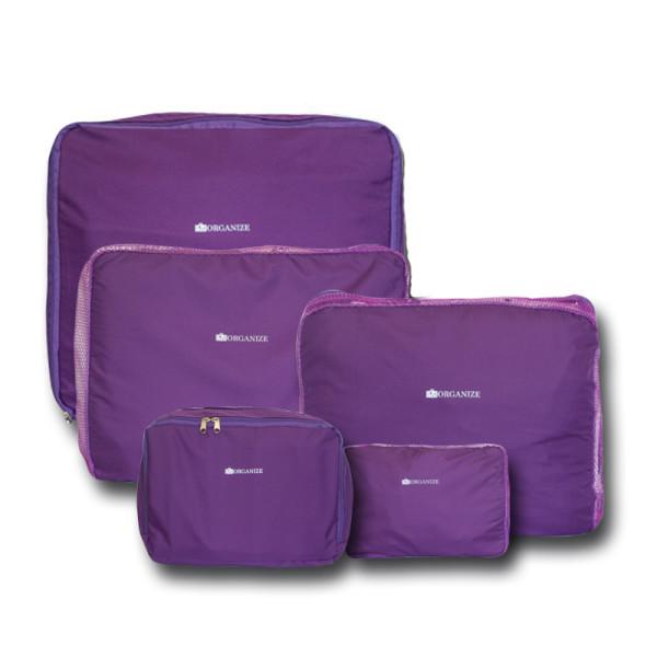 Набор органайзеров 5 шт. для вещей в чемодан для путешествий Фиолетовый