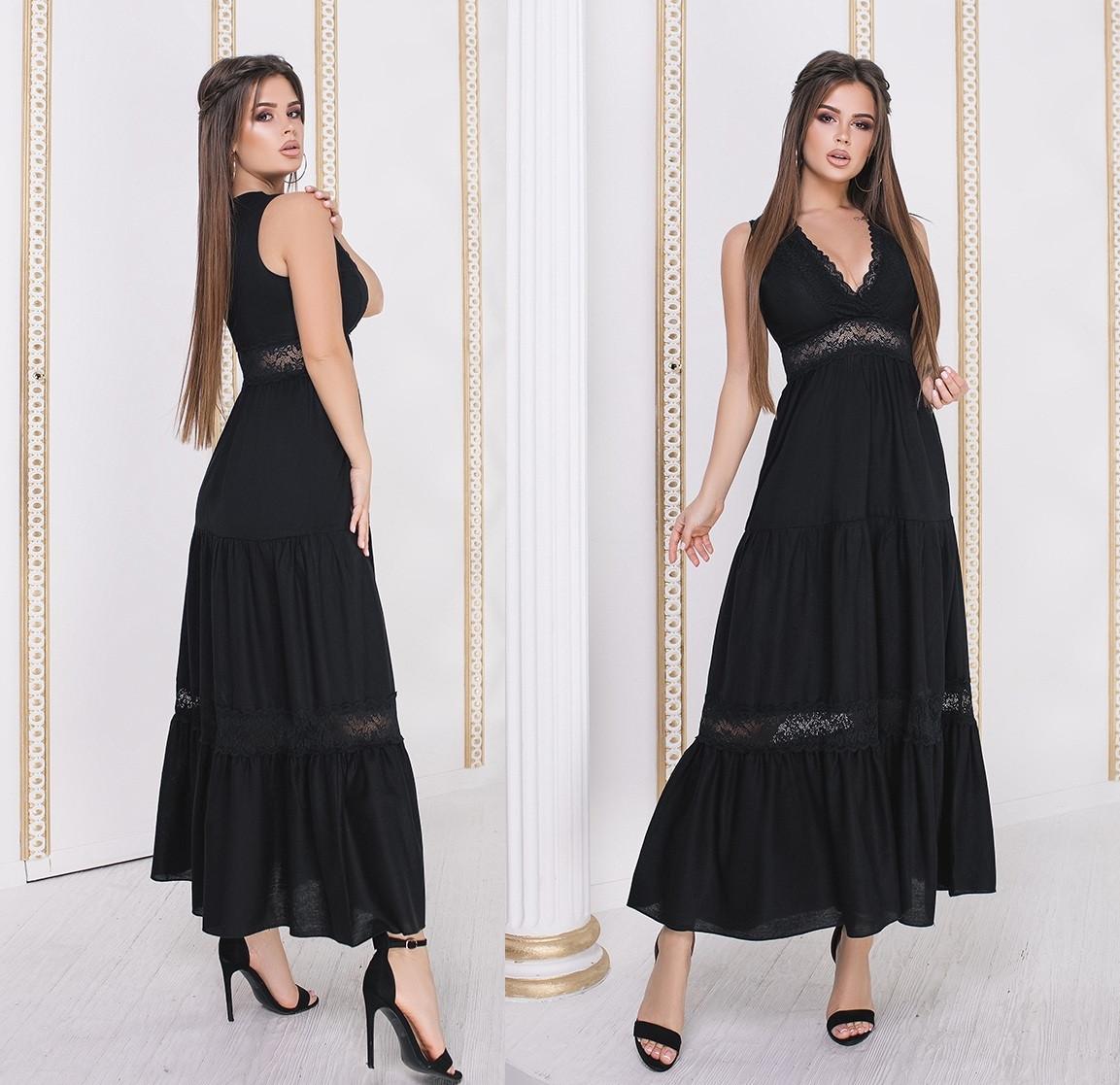 446016e86934097 Летнее длинное платье из льна. Чёрное, 4 цвета. Р-ры:42-44,44-46 ...