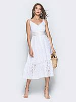 0cfa0a976b0f331 Стильное летнее белое платье из хлопка с ажурной вышивкой р.44,46,48