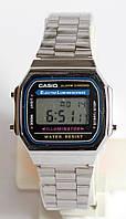 Наручные часы Casio A-168WA-1 с серебряным браслетом