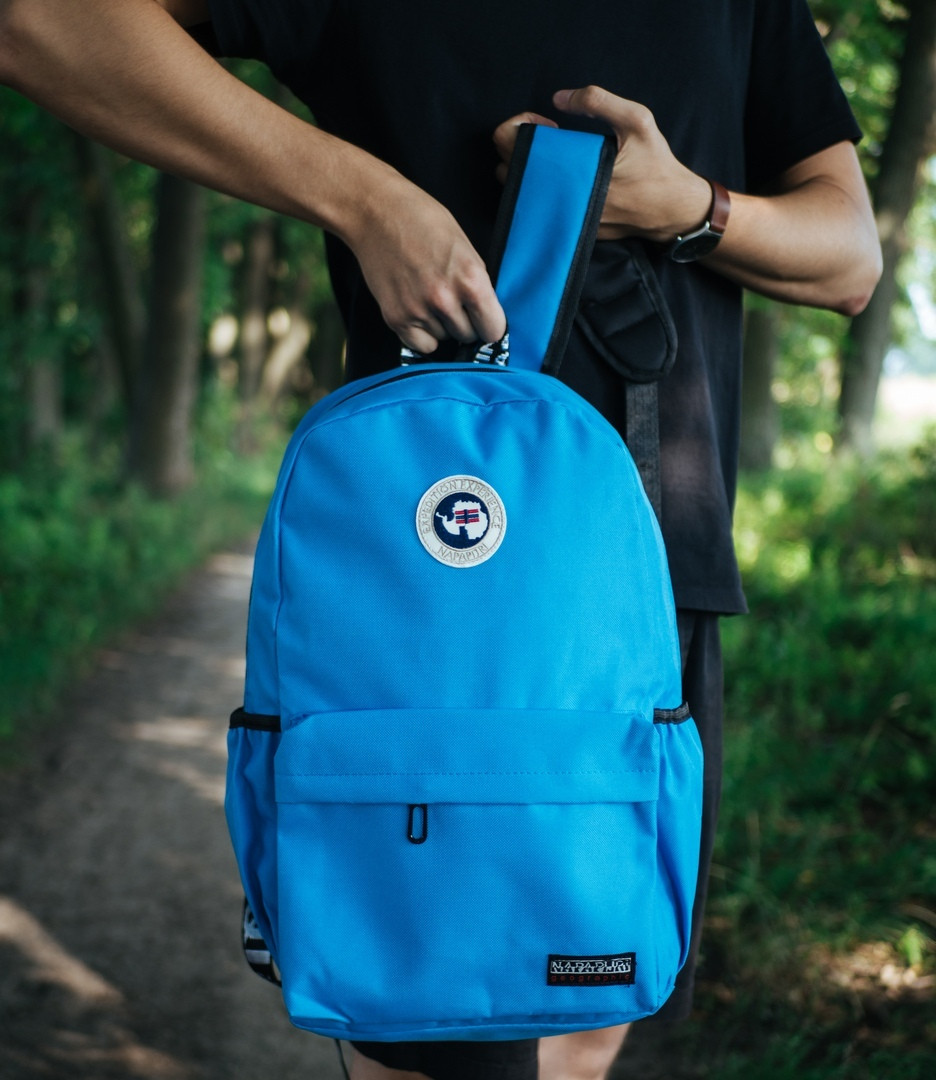 Яркий молодежный рюкзак качественный с ортопедической стелькой, голубой