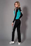 Женский спортивный костюм. Код модели КС-12. Цвет черный с бирюзой.