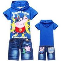 Костюм детский Джордж супермен на мальчика /шорты и футболка синяя /130 см (7-8 лет)/ 140 см (8-9 лет) 140 см 8-9 лет, 100%, Китай, Хлопок