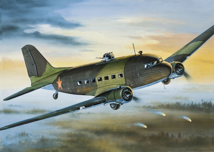 Сборная модель транспортного самолета Ли-2 (ПС-84) 1/144 EASTERN EXPRESS 14430