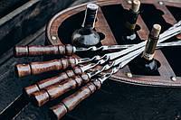 Шампур плоский, с деревянной ручкой из нержавеющей стали  750*3*12 мм,комплект из 6 шт в колчане