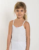 Детская майка на девочку на узкой брительке хлопок EZGI Турция 42 (7-8 лет) белая