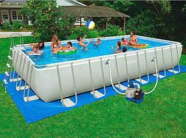 Прямоугольный каркасный бассейн Intex  975х488х132 см  песочный фильтр+хлоратор (28376)