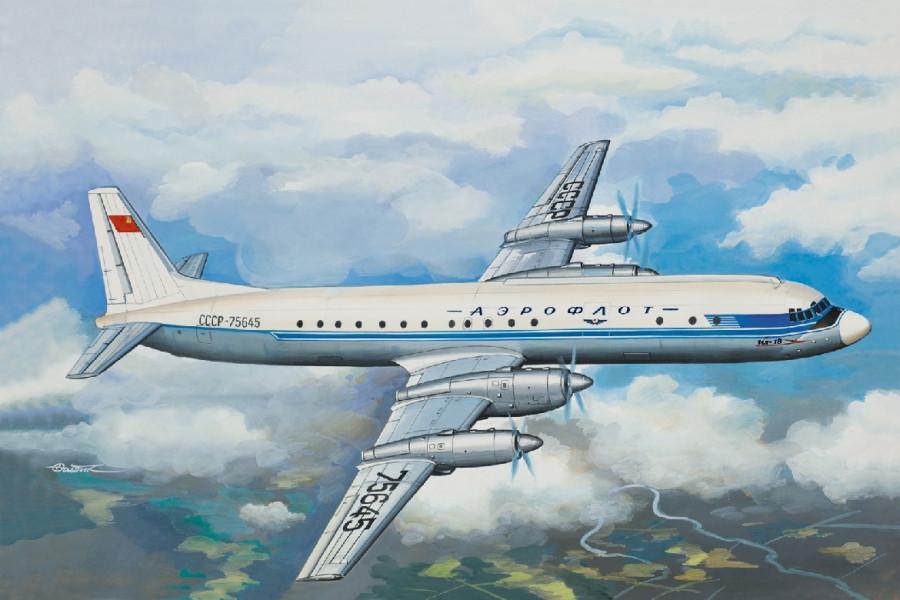 Советский пассажирский самолет Ил-18 АБ. Сборная модель. 1/144 EASTERN EXPRESS 14464