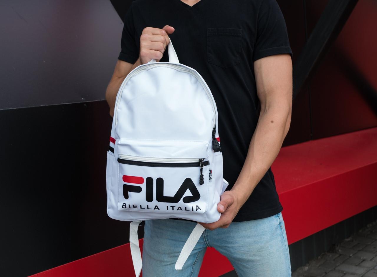 Городской рюкзак Fila вместительный из водонепроницаемой ткани (белый), ТОП-реплика