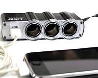 Разветвитель прикуривателя на 3 гнезда + USB (WF-0120), фото 1