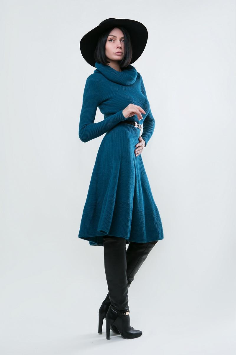 SEWEL Платье PW096 (44-46, морская волна, 60% акрил/ 30% шерсть/ 10% эластан)