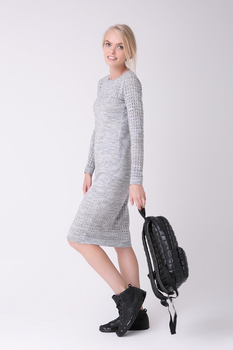 SEWEL Платье PW463 (46-48, светло-серый меланж, 60% акрил/ 30% шерсть/ 10% эластан)