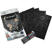 Раскраска А4 CENTROPEN на черной бумаге 6 маркеров 1мм K15-275-1К