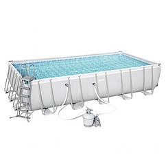 Прямоугольный каркасный бассейн Bestway Power Steel Frame Pool  (671х366х132 см)  (56471BW)