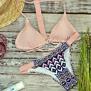 Купальник женский раздельный розовый с плетением