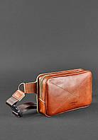 Стильная кожаная мужская сумка на пояс кроссбоди свело-коричневая ручная работа