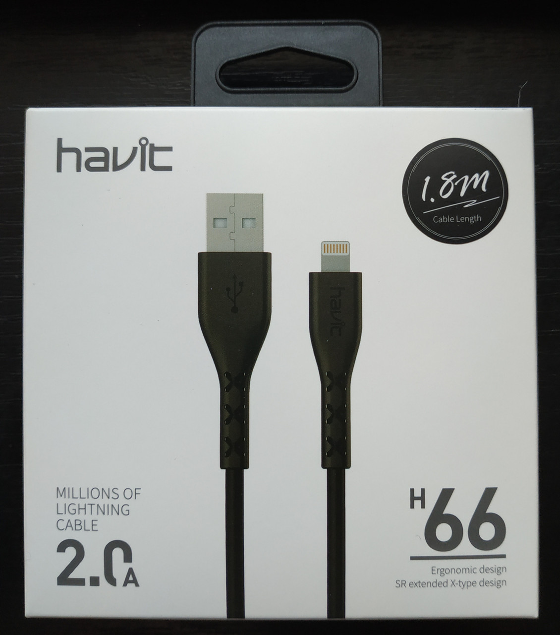 Кабель для передачи данных смартфона Havit HV-H66 Lighting, black, 1.8m