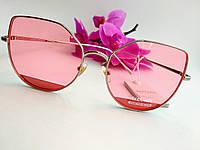 Женские солнцезащитные очки бабочка металлические розовые (081)