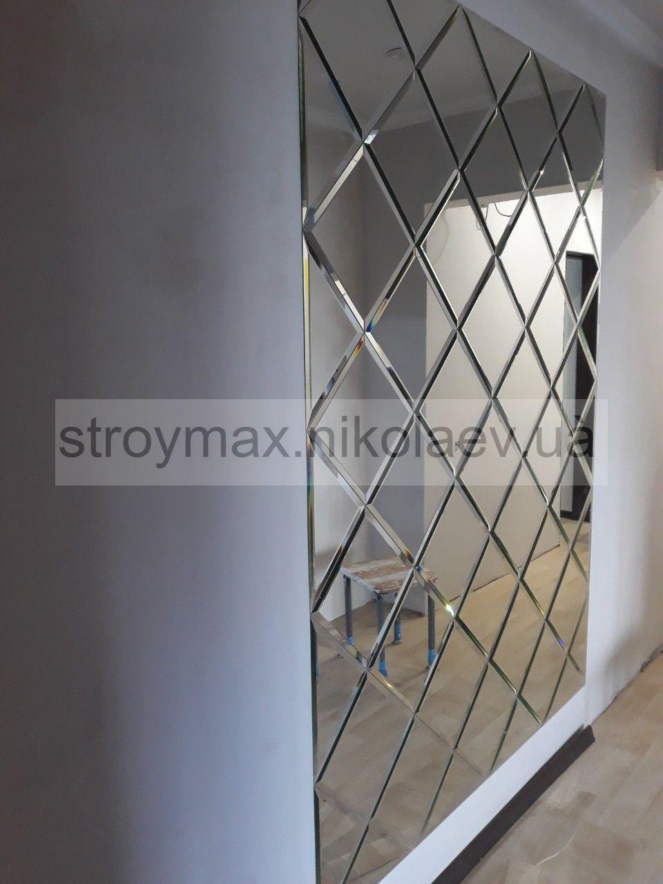 Зеркальное панно 1500*2065 мм серебро фацет 15 мм