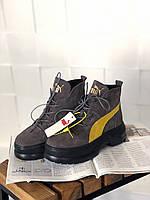 Женские ботинки Puma Spring Boots Brown Yellow Black