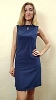 Синее женское платье в горошек без рукавов П165, фото 1