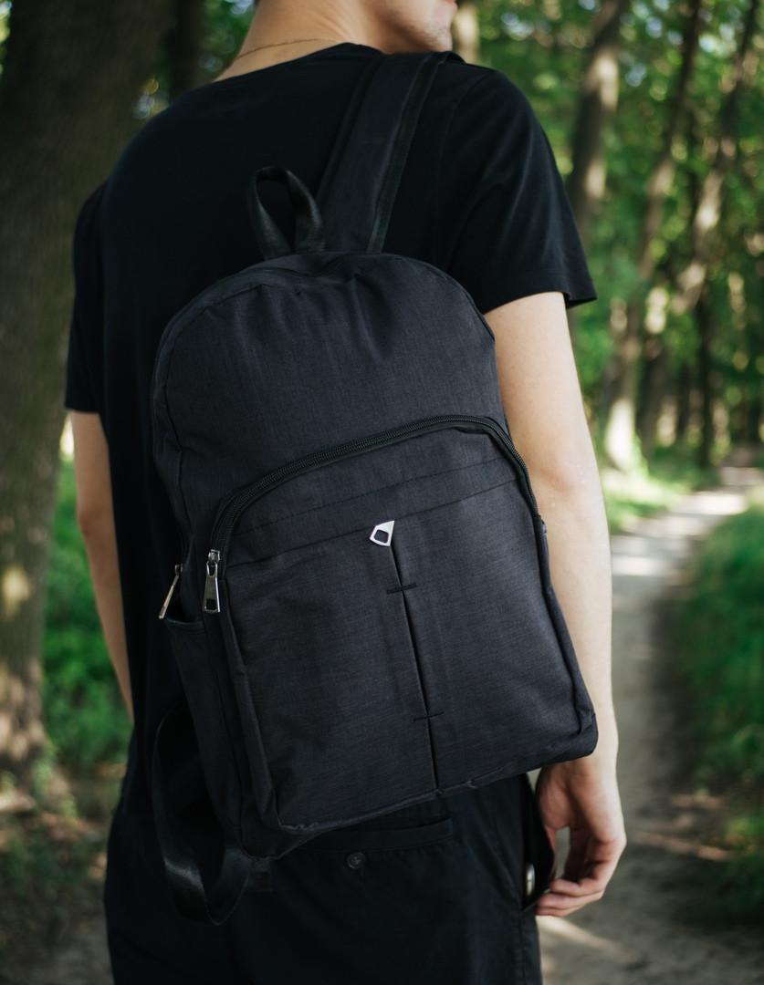 Стильный модный мужской рюкзак водонепроницаемый на молнии в черном цвете