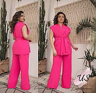 Женский  батальный классический брючный костюм с жилетом. 4 цвета!, фото 1